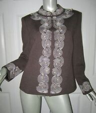 ST. JOHN Dark Brown Santana Knit White Embroidered Zip Front Jacket Size 14