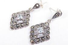 Vintage 925 Sterling Silver Blue Topaz and Marcasite Earrings 3.2g f2