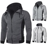 Stylish Mens Casual Baseball Jacket Slim Hooded Hoodie Double Zipper Sweatshirt