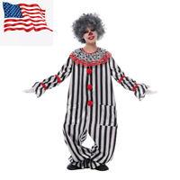 Boys Clown Costume Halloween Scary Circus Fancy Dress Black&White US Shipping