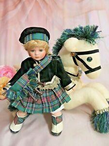 Porcelain SCOTTISH dress  BOY doll on felt HORSE Patrick SHOW STOPPERS rare