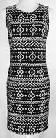 DKNY Linen Sleeveless Sheath Dress Keyhole Black White Embroidered Geometric 2