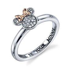 Plata de Ley Original Diamante Natural i ' Ll Be Your Minnie Disney Anillo 8