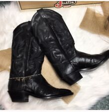$350 Excellent Justin Boots Black Iguana Leather Woman's Western Boot 6