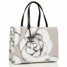 Chanel Canvas And Leather Camellia Large Shopping Tote Bag
