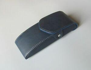 Vertical Waist Case for Glasses, Blue PU Leather Eyeglasses Belt Case