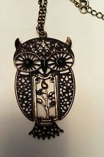 Large Statement Articulated Brass Metal OWL Marcasite Pendant & Necklace
