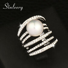 Luxury Multilayer Crystal & Pearl Hollow Big Rings For Women Size 6-10 Statement
