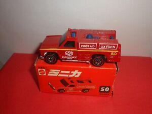 HTF Mattel Hot Wheels Redlines #50-Emergency Unit In Orig Japan Box,NMINMB,1974.