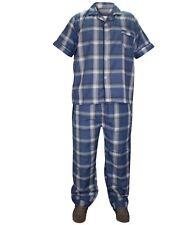 Mens 2 Pieces Woven Check Pyjama Set Lounge Wear Nightwear Top & Bottom L Navy