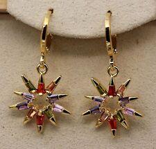 18K Yellow Gold Filled- Punk SunFlower Amethyst Ruby Topaz Zircon Party Earrings