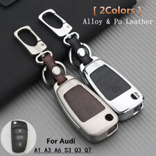 Alloy Smart Remote Key Shell Pu Leather Case Cover For Audi A1 A3 A6 S3 Q3 Q7