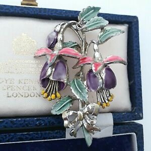 VINTAGE SIGNED EXQUISITE FUCHSIA ENAMEL JULY BIRTHDAY FLOWER LARGE PIN BROOCH
