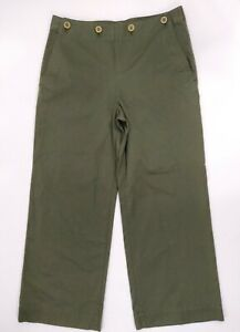 New Theory Namid Pants Size 10 Green Myrtle Washed Crop Chino Wide Leg
