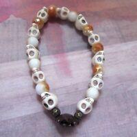 Sugar Skull Stretch Bracelet with Brown Flower & Crystal Beads