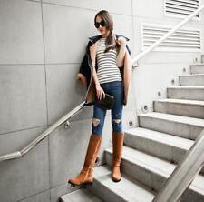 Womens Block Heeks Knee High Boots Suede Casual Buckles Side Zip Knight Shoes K8