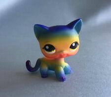 Littlest Pet Shop Custom OOAK LPS Short Hair Cat rainbow Hand Painted Figure