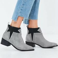 BNIB  Missguided Ankle Boots Size 3 Studded Star Grey Black Western Chelsea New