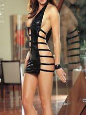 Sexy Clubwear Exotic Dancer stripper wear Faux leather wet look mini Dress BD107