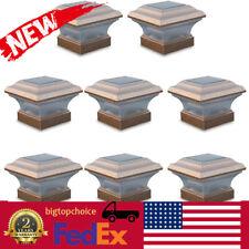 New listing 8 Outdoor 4X4 Garden Solar Copper Post Deck Cap Square Fence Light Plastic bigt!