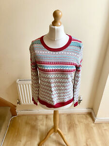 Marks and Spencer Per Una Fair Isle Knit Jumper Size 14 Christmas Winter