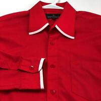 Stacy Adams Men's Long Sleeve Button Up Dress Shirt 16 ½ 36 37 Red White Trim