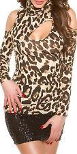 SeXy MiSS Damen Dekollete Loch schulterfrei Rolli Shirt 34/36/38 leopard TOP Neu