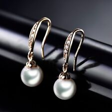 18K Gold Filled Vintage Womens Pearl Sapphire Crystal Dangle Earrings Jewelry