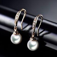 18K Gold Filled Vintage Womens Pearl Sapphire Crystal Dangle Earrings Jewelry
