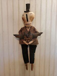 Primitive Grungy Little Skeleton Halloween Doll & His Spooky Bat