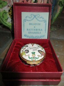Halcyon Days Bilston & Battersea Enamel Box Christmas 1976 Cartier box