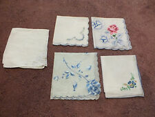 "Collectible Ladies Handkerchief Set 5 Blue Floral Embroidery 11"" NICE"