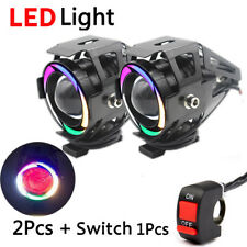 2X 125W Motorcycle U7s LED Lamp Headlight DRL running Light Fog Lights & Switch