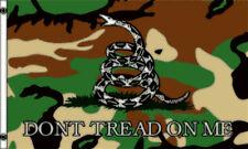 Don't Tread On Me Camoflage Gadsden Diamondback Snake 3x5 Polyester Flag