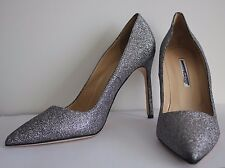 Manolo Blahnik BB Pumps Silver Glitter sparkly Pointed Toe Shoes 10.5 / 40.5