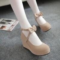 Women Fashion Sweet Faux Suede Ankle Strap Buckle Bow Tie Wedge High Heel Shoes