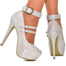 Ladies Diamante High Stiletto Heel Glitter Platform Ankle Strap Party Shoes