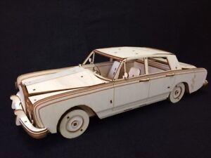 Laser Cut Wooden Rolls Royce Silver Shadow 3D Model/Puzzle Kit