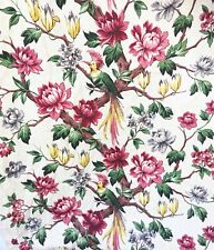 Vintage Vat Print Tropical Birds Barkcloth Curtain Panel or Fabric 40s 1940s