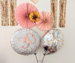 Rose Gold Balloon Bouquet Hello 30 Birthday Decor Age Foil Silver Confetti 21