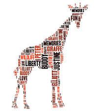 Personalised Giraffe Word Art Print Great Gift  Daughter Son Sister Friend