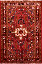 Traditional Floral Red Lilian Hamedan Area Rug Hand-Knotted Foyer Carpet 4'x6'