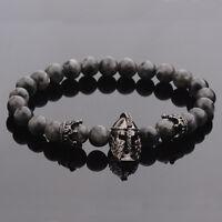 Men Nature Stone Crown Spacer CZ Black Spartan Bracelet Beads Bracelet Masculina