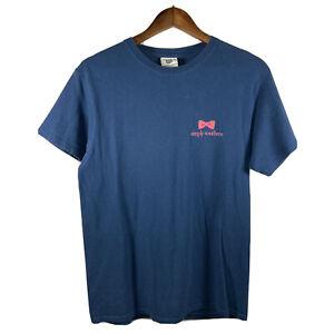 Simply Southern Happy Girls Preppiest Ladies Womens Medium Blue Gold T Shirt