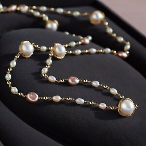 Fine Handmade!White Pearl Long Necklace 14K Yellow Gold Filled,Sweater Chain,30""