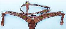 Show Tack Horse Bridle Western Leather Headstall Breast Collar Green 8212