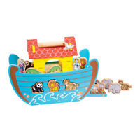 Bigjigs Toys Wooden Noah's Ark Animals Play Set Shape Sorter Toy