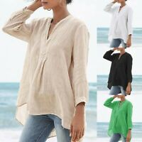 Womens Casual Loose Long Sleeve V-Neck Cotton Linen Tops T-shirt Plus Size S-5XL