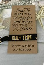 Bride Tribe Wedding Favors Gold Black Hair Wrist Bands Kraft Card Hen Party #97