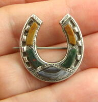 Antique Victorian c1890 sterling silver Scottish agate horseshoe brooch pin